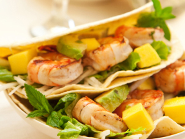 Shrimp and mango tacos