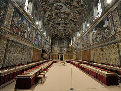 This picture made available Tuesday, March 12, 2013 by the Vatican newspaper L´Osservatore Romano shows where the cardinals will be sitting inside the Sistine Chapel during the conclave voting, at the Vatican. Cardinals enter the Sistine Chapel on Tuesday to elect the next pope amid more upheaval and uncertainty than the Catholic Church has seen in decades