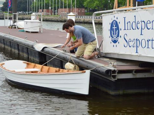 This skiff, Nemo, was built at the Independence Seaport Museum. Some Walnut2Walnut regatta participants will rent boats such as Nemo. (Photo courtesy of Independence Seaport Museum)