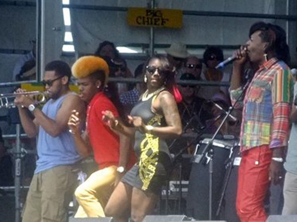 Soul Rebels performing at the 2014 New Orleans Jazz & Heritage Festival with Big Freedia.