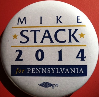 "State Sen. Mike Stack is handing out ""Stack 2014"" buttons."