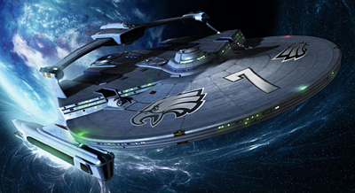 """Michael Vick """"Starship 7"""" image created by Eagles fan Mike Cessario. (Click on image to view larger version)"""