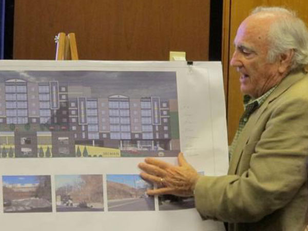 Developer Stephen Goldner discusses his plans for a 75-unit apartment complex on Main Street in Manayunk.