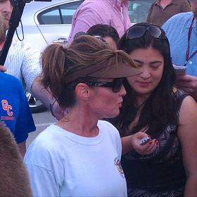 Sarah Palin chatting with fans and reporters outside Gettysburg hotel Monday evening May 30.