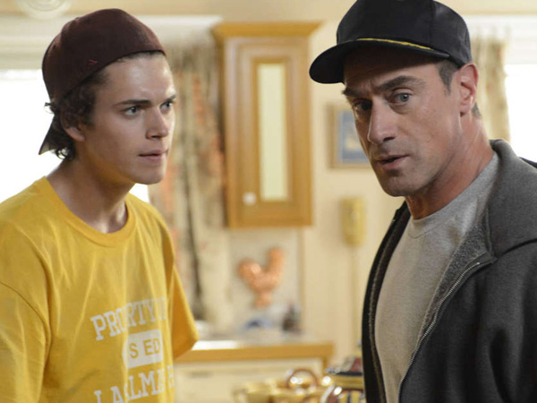 """Christopher Meloni (right) is deliciously derisive as Jack Dunlevy, father of 16-year-old high school freshman Frankie (Connor Buckley), in """"Surviving Jack."""""""