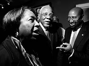 Councilwoman Marian B. Tasco with former Mayor Wilson Goode and Mayor Nutter in 2008.