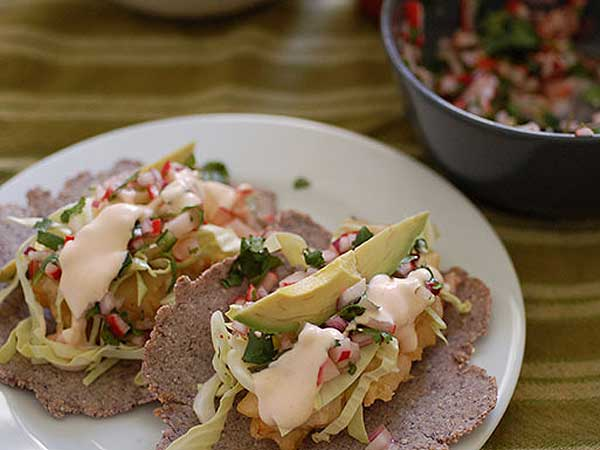 Baja-style fish tacos with radish salsa.