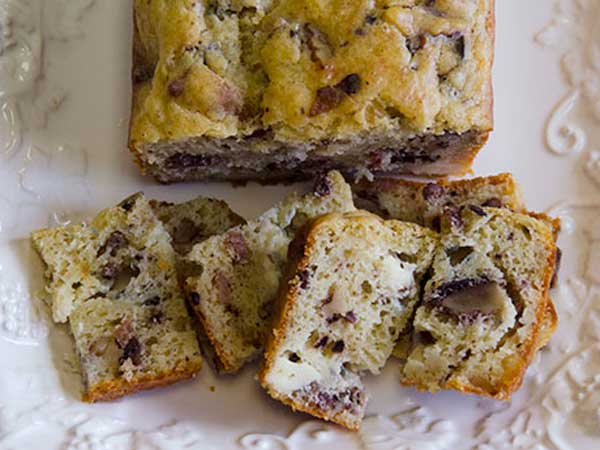 Roquefort, Walnut, Bacon Cake.