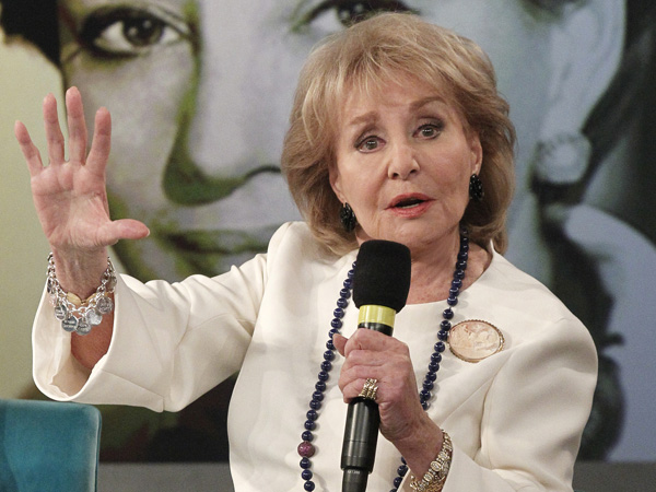"This image released by ABC shows Barbara Walters speaking during a taping of her final co-host appearance on ""The View,"" Thursday, May 15, 2014 in New York."