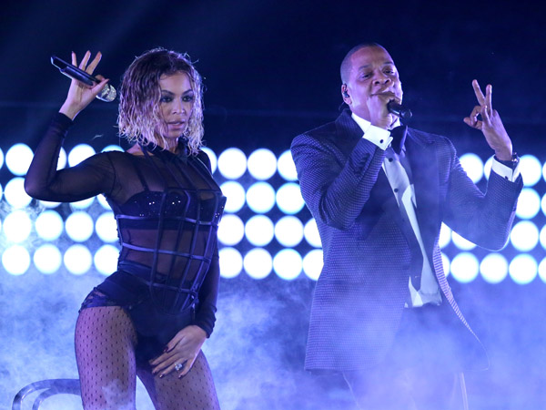 "Beyonce, left, and Jay-Z perform ""Drunk in Love"" at the 56th annual Grammy Awards at Staples Center on Sunday, Jan. 26, 2014, in Los Angeles. (Photo by Matt Sayles/Invision/AP)"