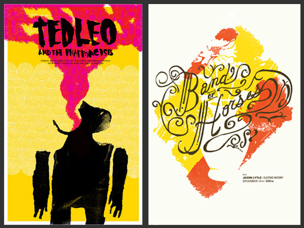 Poster work by Philadelphia-based artists Tim Gough (left) and Shawn Hileman (right).