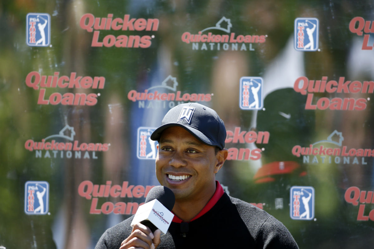 Tiger Woods spoke at a news conference Monday at the Quicken Loans National, a tournament which benefits his foundation and is held at Congressional Country Club in Bethesda, Md. Woods had back surgery twice last fall and said Monday he is unsure when he will return to the PGA Tour.