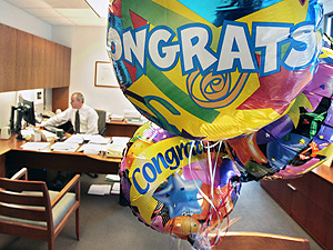 Balloons marking Marty Purcell´s 25th anniversary  Feb. 18, 2010, with the Graham Co., a commercial insurance brokerage in Philadelphia.