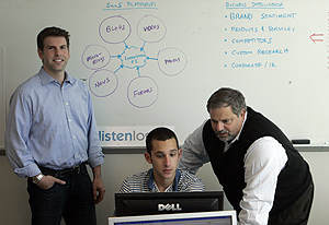 "At the offices of ListenLogic L.L.C., a Fort Washington technology company, Mark Langsfeil (left), founder and CRO, and Vincent J. Schiavone, executive chairman (right), work with analyst Joe Schurr. This spring, Mid-Atlantic Angel Group agreed to invest in the firm. Schiavone said investors now were setting the bar higher than in the past. ""What it means to me, I need to carry my companies further before I go out looking for money,"" he said.<br />"