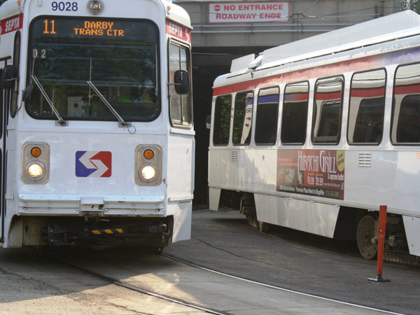 SEPTA trolleys at the portal to the Center City tunnel.