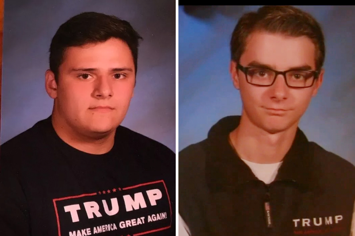 The yearbook photos of two high school students in Wall Township were edited to remove President Donald Trump´s name on clothing they wore. The original photos are seen here.