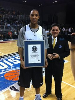 Evan Turner and his Guinness World Record plaque. (Photo via Michael Preston, Sixers PR)