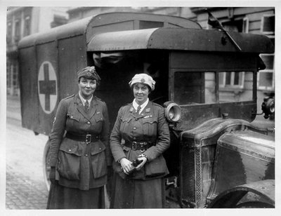 Two British women ambulance drivers who were decorated with the French and Belgian Croix de Guerre in 1918.