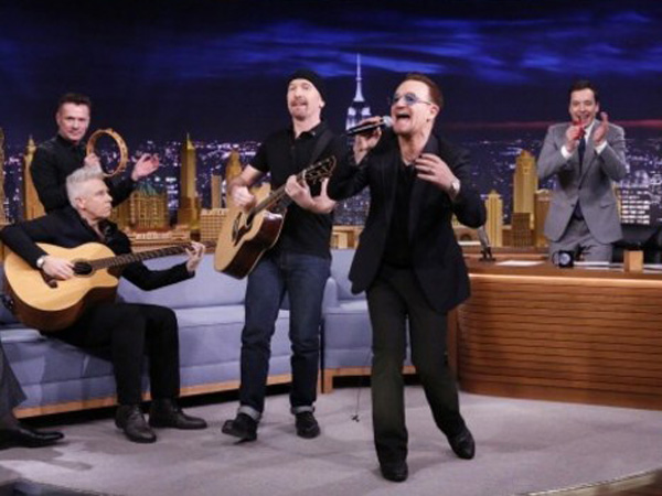 "U2 performs on ""Tonight"" with Jimmy Fallon."