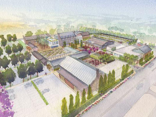 An artist´s rendering of preliminary plans for Urban Outfitters´ $100 million Devon Yard complex, as viewed from the northeast. (Image courtesy of Urban Outfitters)