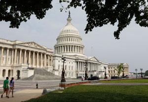 The U.S. Capitol Plaza in Washington, quiet on Sunday morning.