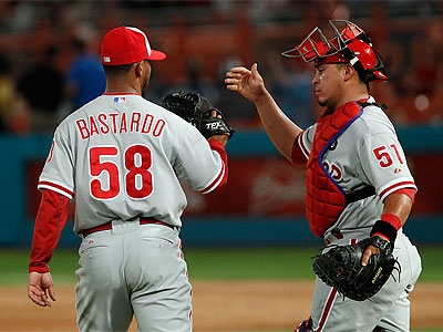 Antonio Bastardo closed out the Phillies´ 1-0 win over the Marlins last night. (Wilfredo Lee/AP)