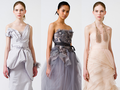 Vera Wang´s spring 2011 line featuring several non-white hues. (Photos courtesy of Vera Wang)