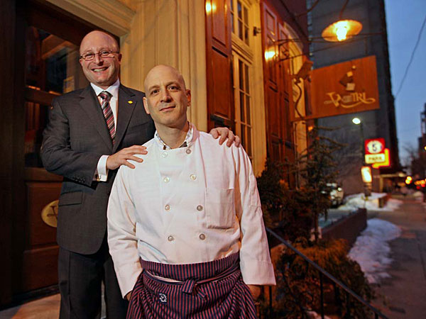 Jeff Benjamin (left) with Marc Vetri on the front steps of Vetri , 1312 Spuce St.