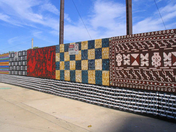 "Kathryn Pannepacker, ""Wall of Rugs"", 2004, mural painting, 7´ x 500´, Girard and Belmont Avenue, Philadelphia, PA. Sponsored by the Mural Arts Program, The City of Philadelphia, and The Ford Foundation."