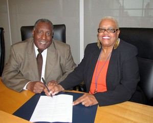 Chester Mayor Wendell Butler and CUSB President Wanda Mann