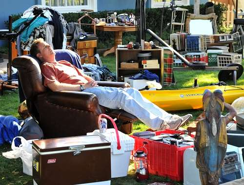 "Will Ferrell kicks back with his belongings in ""Everything Must Go."" Note the can of Pabst atop the styrofoam cooler."