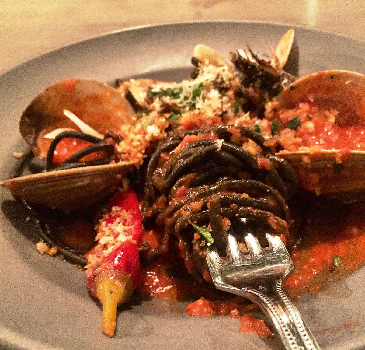 Squid ink bucatini with clams bottarga and Calabrese peppers at the Florence.