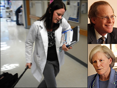 Many uninsured people get primary care at emergency centers such as Abington Memorial Hospital´s, where Registered Nurse Tara Pedrick was at work in this file photo. At right, Larry Merlis, Abington´s CEO, and Meg McGoldrick, chief operating officer, said they were for the bill.