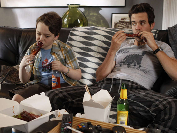 """About a Boy,"" based on Nick Hornby´s 1998 novel, stars Benjamin Stockham (left) as young Marcus and David Walton as the largely irresponsible, but ever-improving, Will."