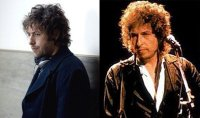 "Adam Sandler, on left, in ""Reign Over Me,"" channeling birthday boy Bob Dylan, on right."
