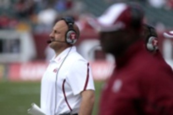 Temple coach Steve Addazio during a loss to Toledo on Oct. 1 at the Linc.   (DAVID SWANSON / Staff Photographer)