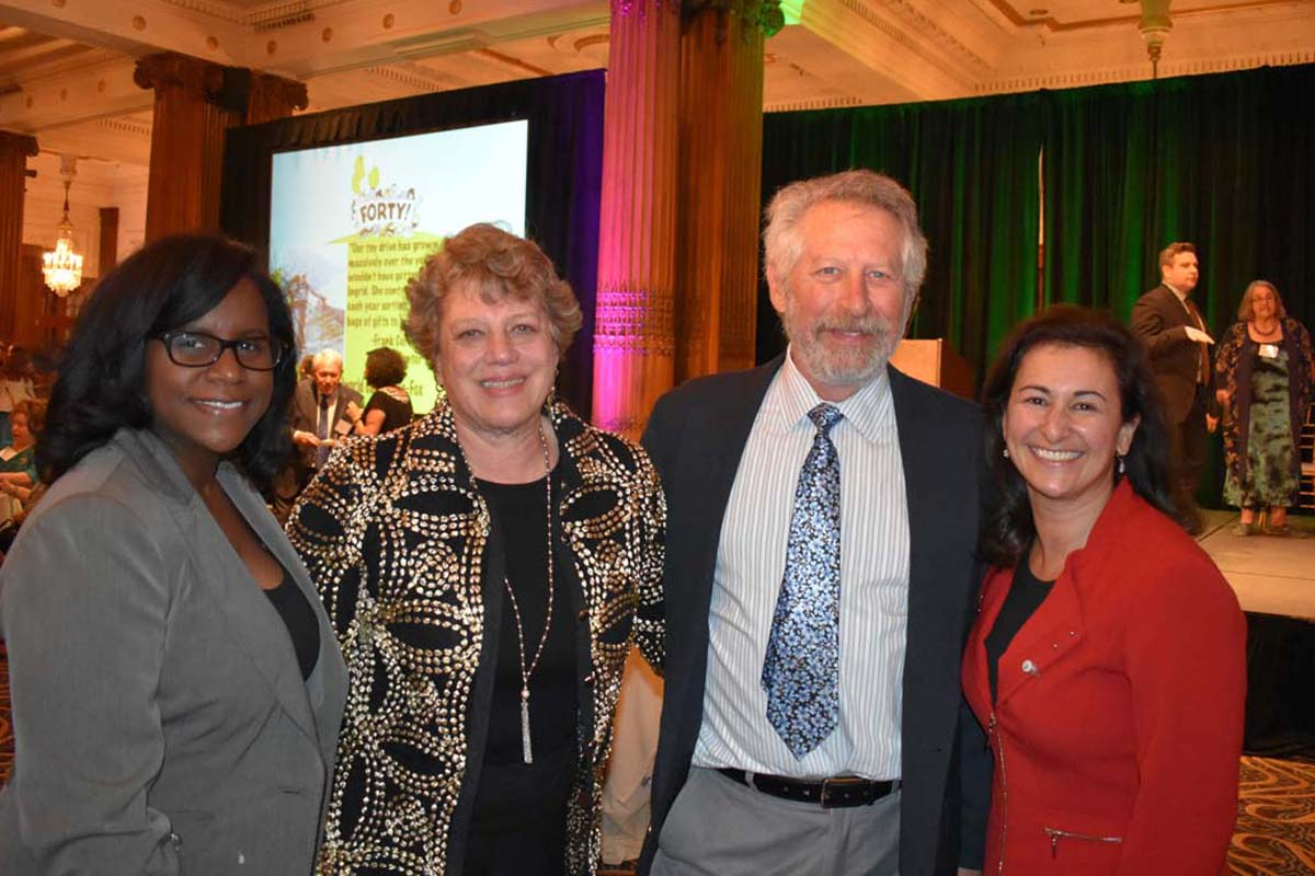 Samia Bristow, JoAnne Fischer, Eric Hoffman, and Kathy Jaffari at the Crystal Tea Room in Philadelphia.<br />Fischer was honored as the 2017 Child Advocate annual benefit for the Support Center for Child Advocates.<br /> <br /><br /><br />