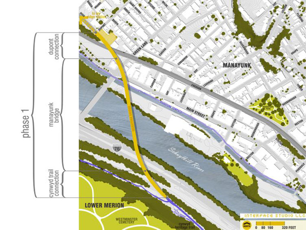 An aerial map shows the design segments of the Manayunk Bridge.