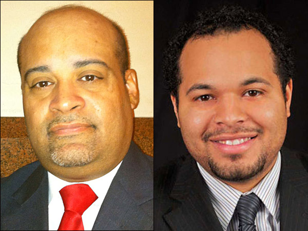 """Rep. Angel Cruz (left) says the Democratic leadership in the state House fired his sister after criminal charges were brought against Rep. J.P. Miranda (right) and Miranda´s sister in an alleged """"ghost employee"""" scam. (File photos)"""