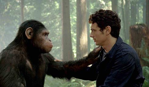 "In this image released by Twentieth Century Fox, Caesar the chimp, a CG animal portrayed by Andy Serkis, and James Franco are shown in a scene from ""Rise of the Planet of the Apes ."" (AP Photo/Twentieth Century Fox)"
