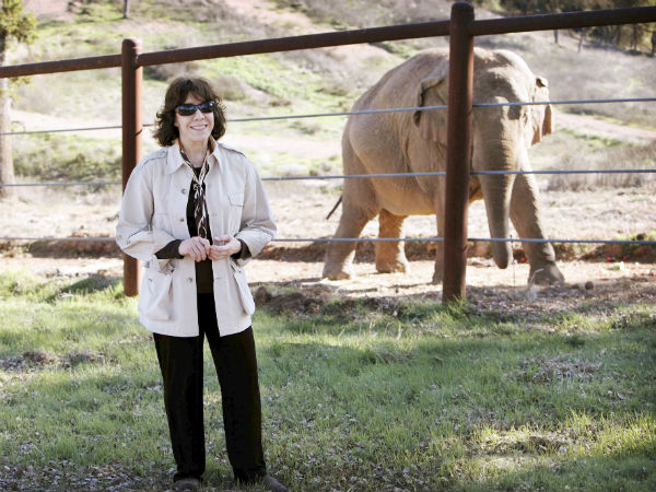 Lily Tomlin with one of the creatures she loves