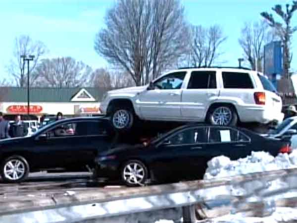 Investigation underway into an unusual crash at a car dealership in Ardmore. <br />