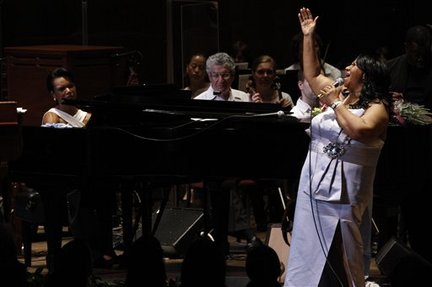 Aretha Franklin and Condoleezza Rice at the Mann Center in 2010.