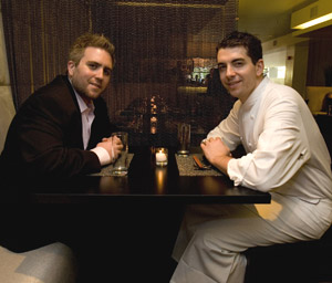 Chef Ari Weiswasser (right) with Pearl co-owner Scott Stein last summer. (Ed Hille / INQUIRER)