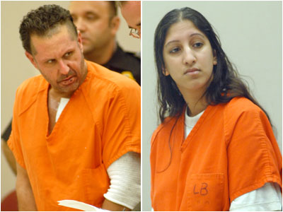 Craig Arno, left, and Jessica Kisby, right, have pleaded not guilty to homicide charges in the death of Atlantic City tourist Martin Caballero. (April Saul / Staff Photographer)