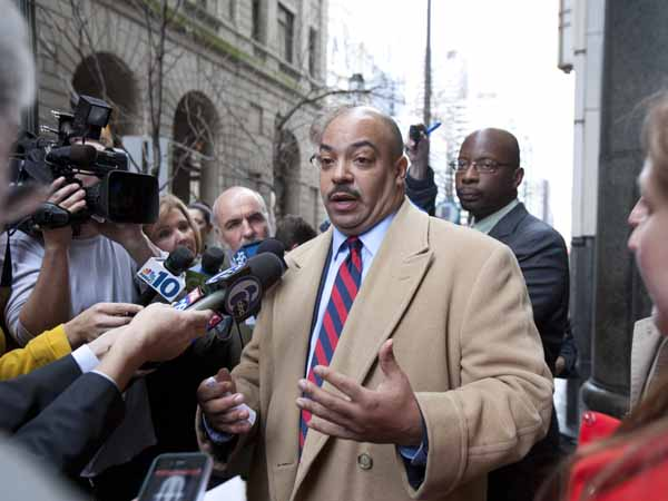 A Philadelphia jury came back with guilty verdicts in the Catholic Church child sex case Wednesday afternoon at the Crininal Justice Center. Lawyers for both sides talked to the press outside the CJC. Here, District Attorney Seth Williams talks about the guilty verdicts the jury found against Father Engelhardt and lay teacher Bernard Shero.  ( ED HILLE / Staff Photographer )