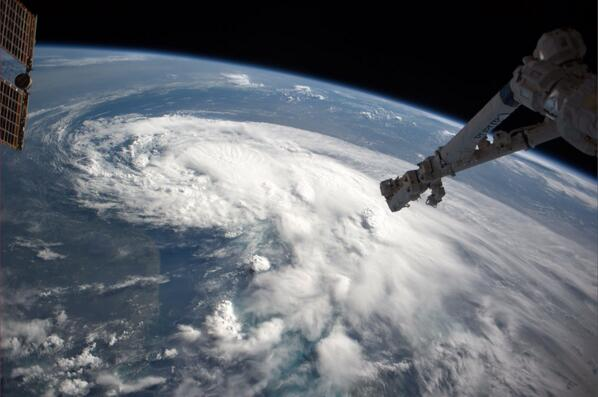 &quot;Looks Mean,&quot;  U.S. astronaut Reid Wiseman wrote in post of this photo of Tropical Storm Arthur taken from the International Space Station.<br /><br />