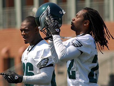 Lito Sheppard, left, and Asante Samuel during practice in May. (Peter Tobia / Inquirer) <br />