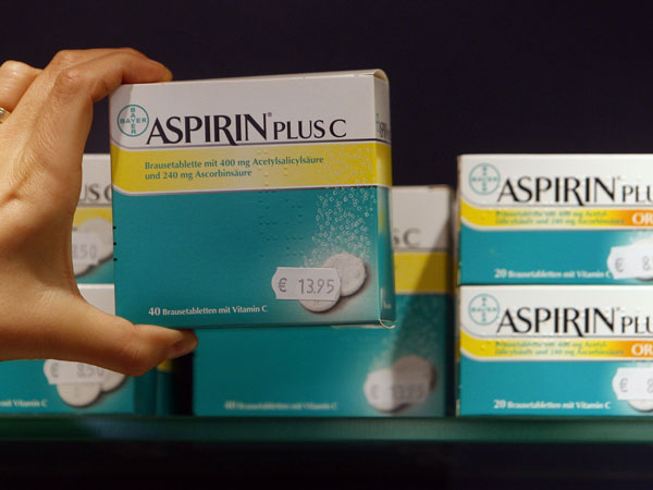The photo shows packages of Aspirin made by the German medical company Bayer, in a pharmacy in Berlin, Thursday, Jan. 8, 2009. (AP Photo/Franka Bruns)