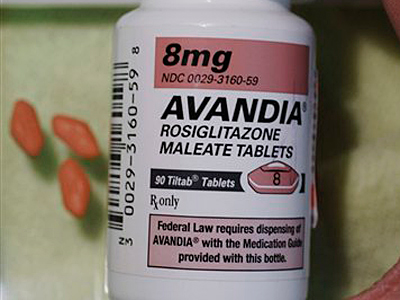 A bottle of Avandia pills. A review released July 9 by federal health scientists reinforces potential ties between the diabetes pill Avandia and heart attack and death, opening the door for government action, including a possible withdrawal of the once blockbuster drug. (AP Photo/Paul Sakuma, file)
